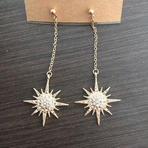 Gold star crystal dangle earrings
